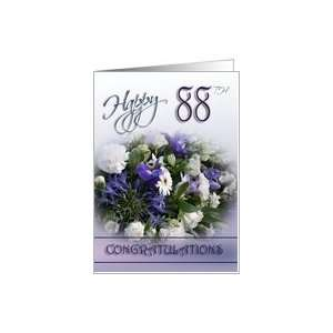 Blue bouquet   Happy 88th Birthday Congratulations Card