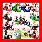 New Nintendo Mario Kart Wii Pull back Bike figure set of 10 free