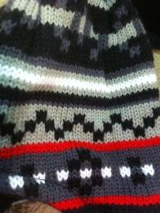 RED STRIPE WINTER HAT MITTENS WARM FADED GLORY CHILD TODDLER