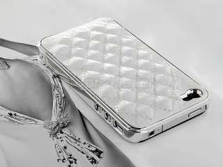 New White Deluxe Patent Leather Chrome Case Cover for iPhone 4 4G 4S