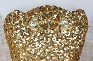Vtg GOLD Lame Sequin Beaded Metallic Prom Dress Strapless Costume
