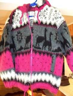Navajo Style Pink Black Girls Wool Sweater sz. 4