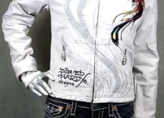 Ed Hardy Womens Moto Jacket Panther Roses Natural White