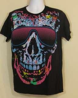 Mens Liquid Blue T Shirt Multicolor Groovy Grinning Skull In Shades M