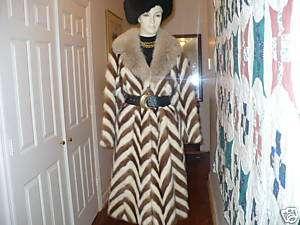 Unique Full length cream & brown Mink fox fur Coat