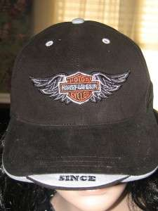 HARLEY DAVIDSON BAR & SHIELD WINGS HAT CAP BLACK NEW
