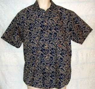 Mens TOMMY HILFIGER Blue Khaki Hawaiian SHIRT S