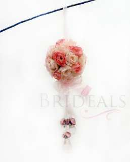 5x Silk Rose Wedding Flower Kissing Ball Arch Decoration Ivory Pink w