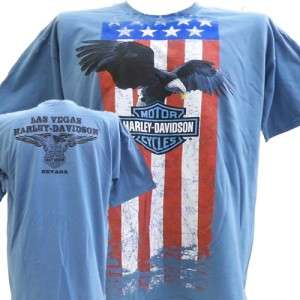 Harley Davidson Las Vegas Dealer Tee T Shirt Flag Eagle BLUE XL