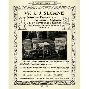 1915 Ad W J Sloane Dryad Cane Furniture Home Decor
