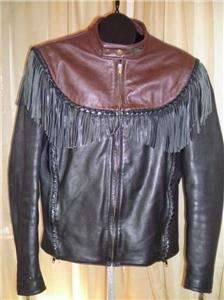 Harley Davidson Leather Jacket Vintage Original Willie G Fringe Brown