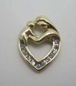 14k Yellow Gold Mother Child Heart Diamond Pendant