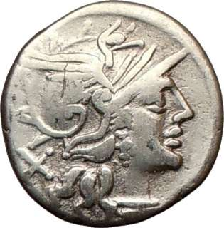 Roman Republic Decimius Flavus LUNA Selene ROMA Ancient Silver Coin