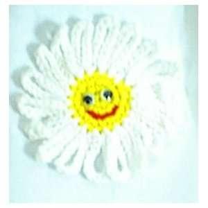 Happy Face Crochet Daisy Flower Refrigerator Magnet Set of