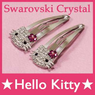 1Pair Cute Hello Kitty Bling Swarovski Crystal Clip Hair Pin Children