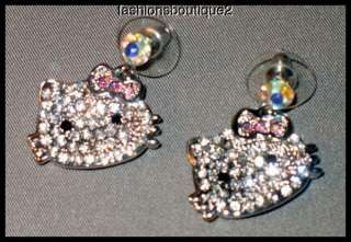 silvertone hello kitty dangling post earrings 2 dangling hello kitty