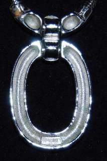 Monet Silver Tone Oval Pendant With Thick Snake Chain
