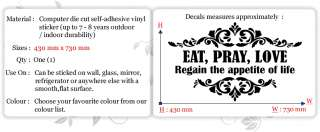 EAT PRAYLOVE~ Wall Quotes Decor, Wall Stickers, Wall Decals