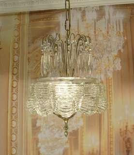 Vintage Antique Old Art Deco Glass Pendant Chandelier Crystal Prisms