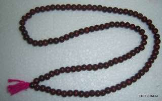 RED SANDALWOOD LAL CHANDAN PRAYER japa ROSARY MALA GOD HINDU 108 beads
