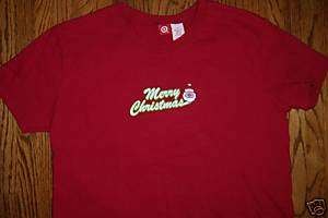 WOMENS RED MERRY CHRISTMAS SANTA CLAUS T SHIRT TOP L
