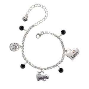 Varsity Megaphone with AB Swarovski Crystal Love & Luck Charm Bracelet