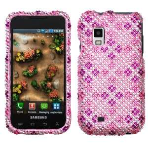 Pink Purple Plaid Crystal BLING Hard Case Phone Cover for Samsung