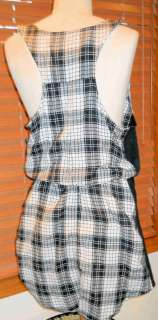 HURLEY~ BLACK & WHITE PLAID SHIRT TAIL JUMPER DRESS