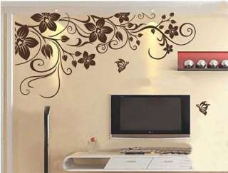 Removable FLOWER Vine Butterfly Leave Art Mural Vinyl Wall Sticker