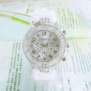 Classic Gel Silicone Crystal Lady Women Leisure Wrist Watch DM598W