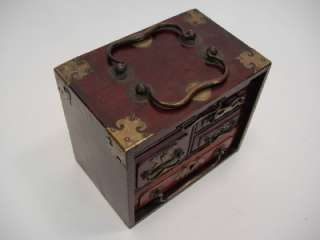 OLD CHINESE BOXES, LACQUERED WOOD BOX W MOP & WOOD JEWELRY BOX