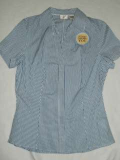 Lee Riders Blue White Striped Blouse shirt Instantly Slim You size S
