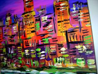 ORIGINAL FINE ART ACRYLIC PAINTING URBAN SUNSET CHICAGO SKYLINE