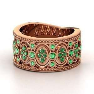 Renaissance Band, 14K Rose Gold Ring with Emerald