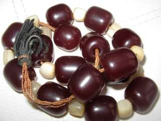 Antique Cherry Amber Bakelite Faturan w Mother Pearl Prayer Beads