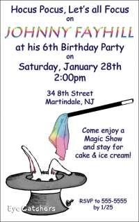 Personalized Magic Magician Birthday Party Invitations