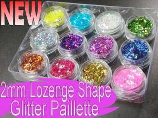 12 Colors DIAMOND Shape RHOMBUS Glitter Spangle Nail Art Make Up