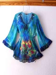NEW~$78~Mushka Sienna Rose~Blue Green Rose Boho Blouse Tunic Top~12/14
