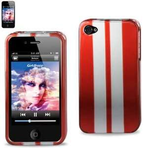 Hard Case Designed for Men IPhone 4 4S Red w/ Silver