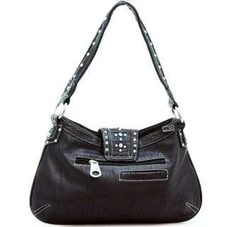 Western shoulder bag w/ rhinestone buckle   black