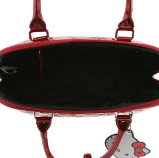 HELLO KITTY NEW SATCHEL TOTE BAG PURSE RED SHINY PATENT EMBOSSED BY