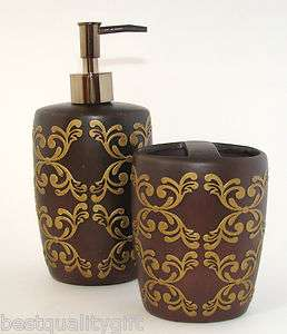 2PC SET BROWN+GOLD CERAMIC BATHROOM SOAP/LOTION DISPENSER+TOOTHBRUSH