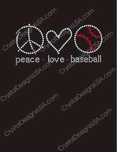 BASEBALL PEACE LOVE Rhinestones Iron On