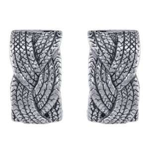 Sterling Silver Italian Puffy Post Earrings French Rope Braid Design