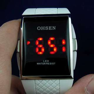 White Rubber Red LED Digital Dive Boy Girl Sport Watch