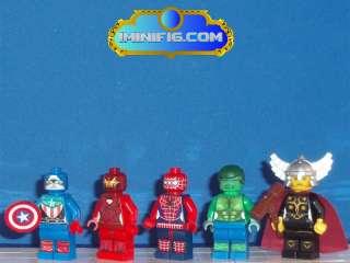 Custom LEGO SuperHeroes Spiderman Hulk Captain America Thor Ironman