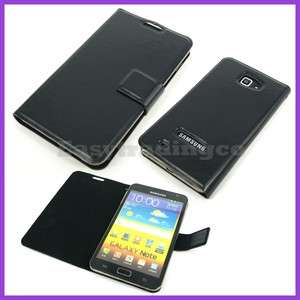 Black High Quality Leather Case Samsung Galaxy Note i9220 GT N7000