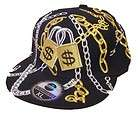 City Hunter Cap Hat $ Money Bling Locks Gold Silver Chains NWT Size XL