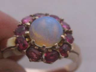 ANTIQUE VICTORIAN 15ct GOLD RUBY & OPAL RING SIZE N FREE P&P UK