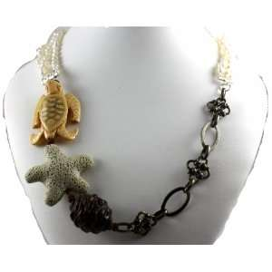 Designer Alex Carol Elegant Long Multi Stranded Pearl, Turtle and